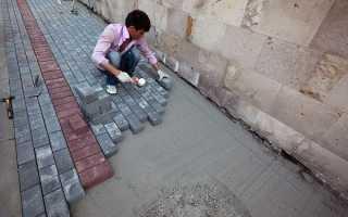 Укладка тротуарной плитки на асфальт