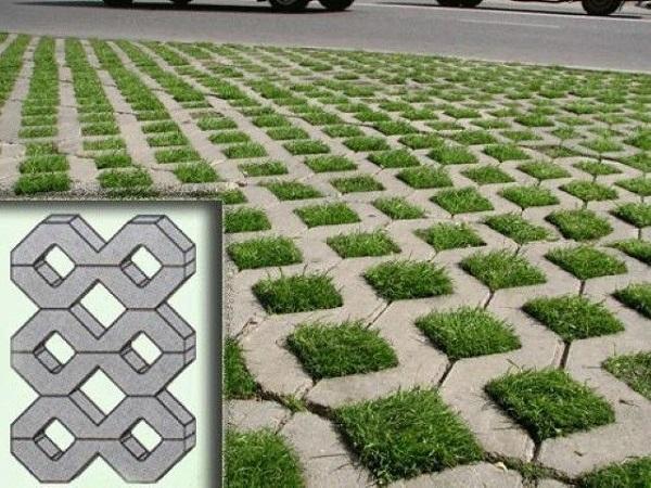 фото сотообразной тротуарной плитки с отверстиями