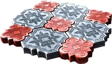 фото серо-красная плитка краковский клевер