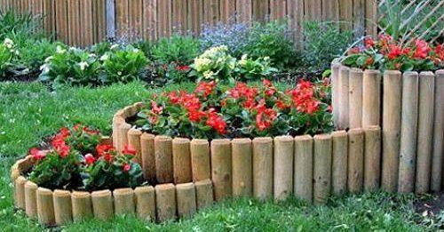 бордюр для клумб из деревянных чурок