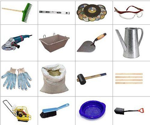 необходимые инструменты для изготовления отмостки из брусчатки
