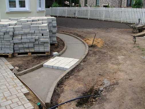 основание из бетона для брусчатки