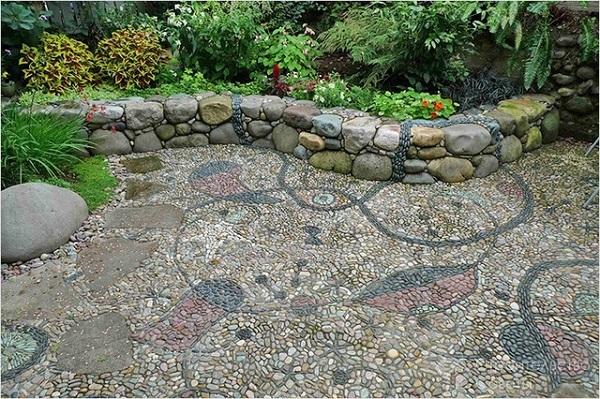 бордюр для грядок из природного камня