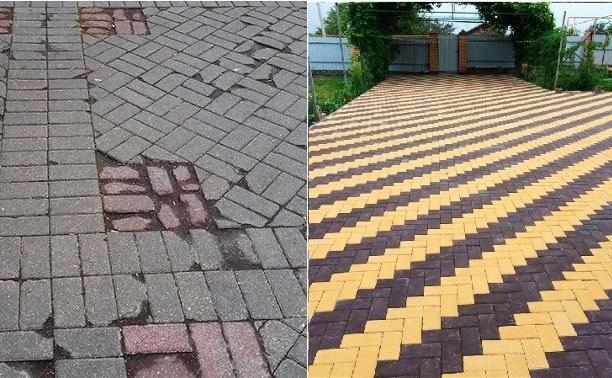 уложенная вибропресованная и вибролитая тротуарная плитка